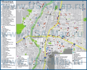 Туристическая карта Альбукерке с отелями, достопримечательностями, ресторанами, барами и магазинами