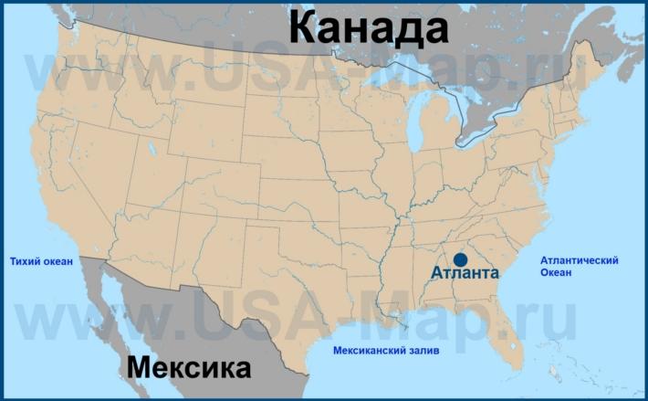 Атланта на карте США