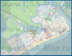 Подробная карта Атлантик-Сити с казино и отелями