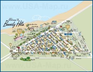 Подробная туристическая карта города Беверли-Хилз