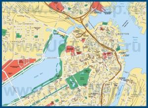 Карта Бостона с достопримечательностями