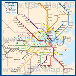 Карта-схема метро Бостона
