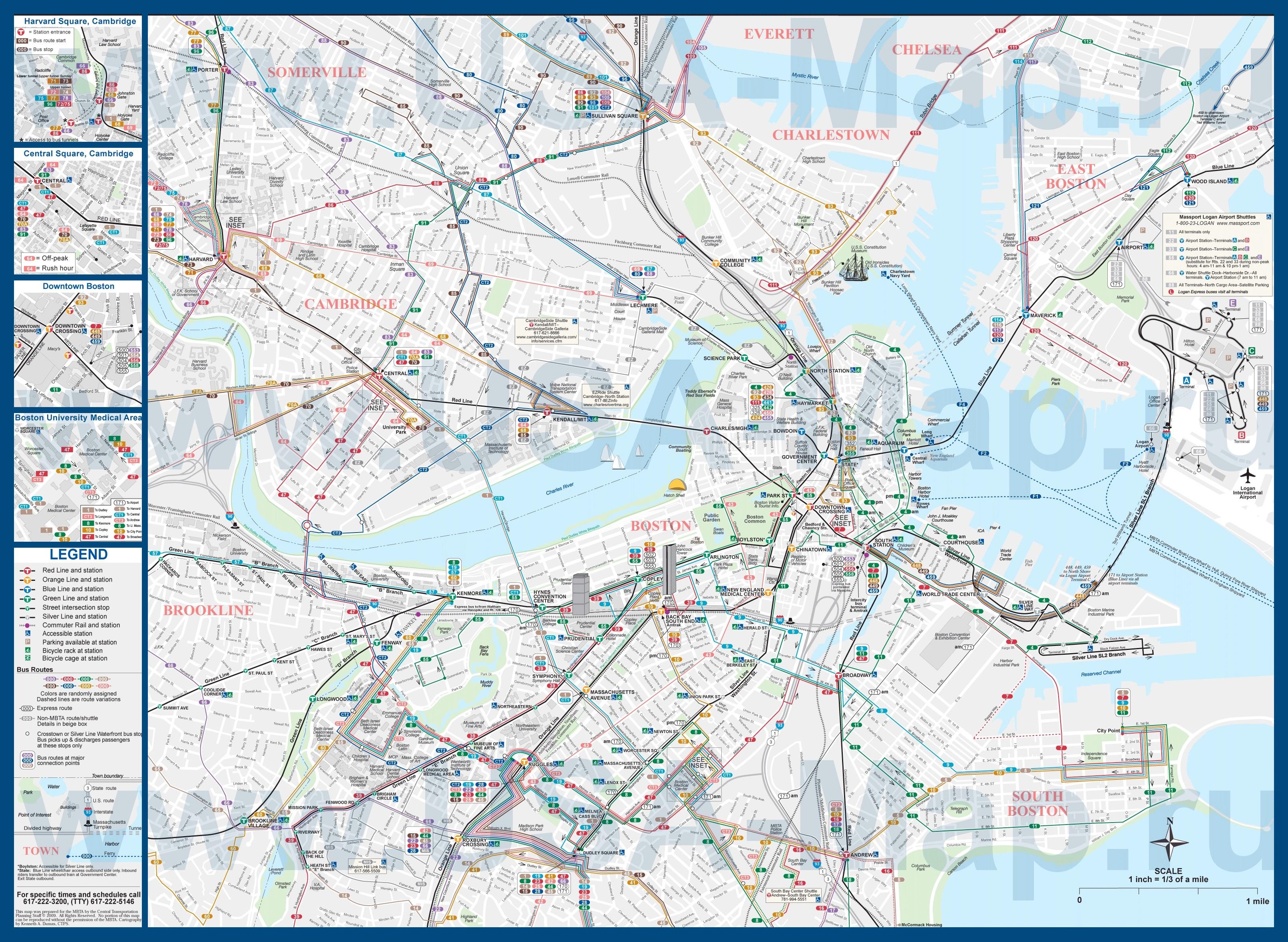 Подробная карта города бостон