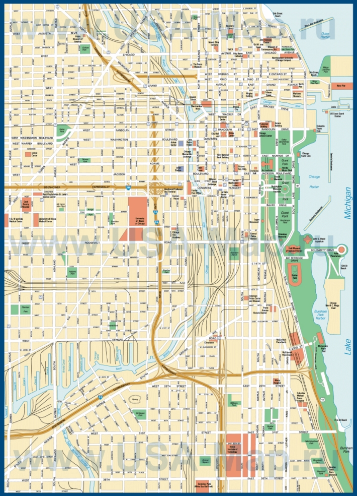 Карта центра Чикаго с достопримечательностями