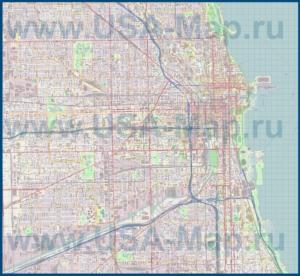 Подробная карта города Чикаго