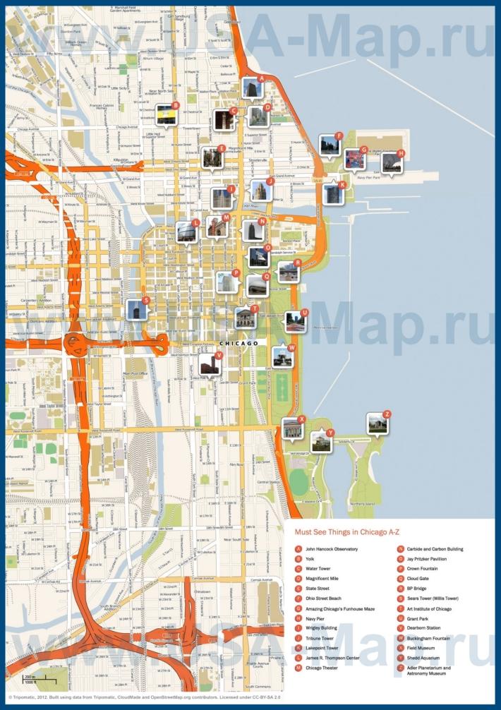 Туристическая карта Чикаго с достопримечательностями