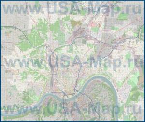Подробная карта города Цинциннати