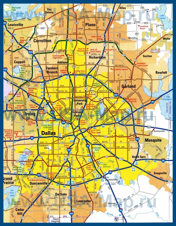Автомобильная карта дорог Далласа