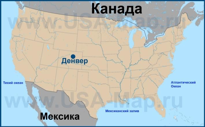 Денвер на карте США