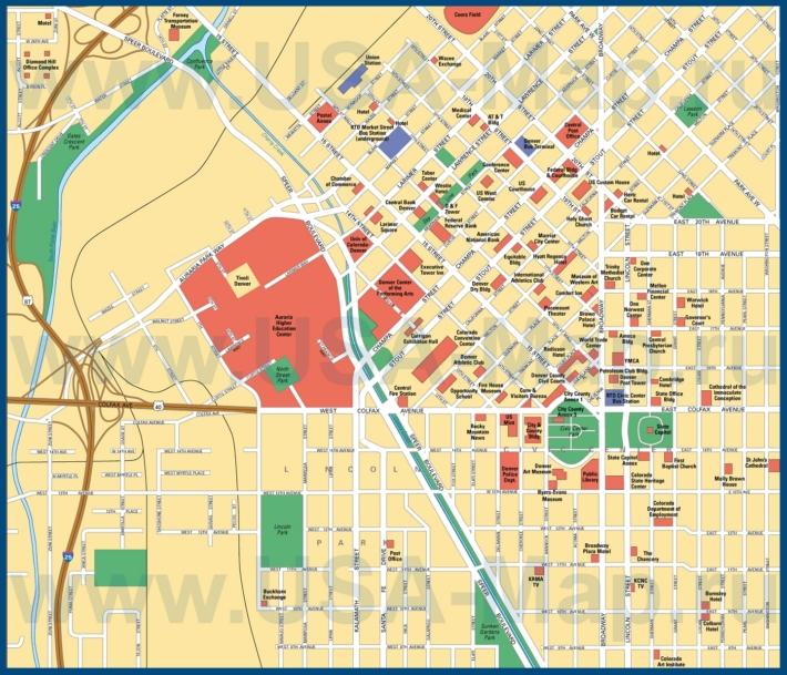 Карта Денвера с достопримечательностями