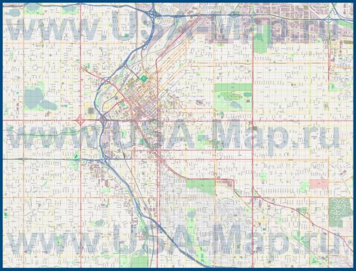 Подробная карта города Денвер
