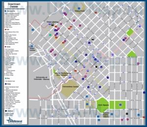 Туристическая карта Денвера с отелями, достопримечательностями, ресторанами, барами и магазинами