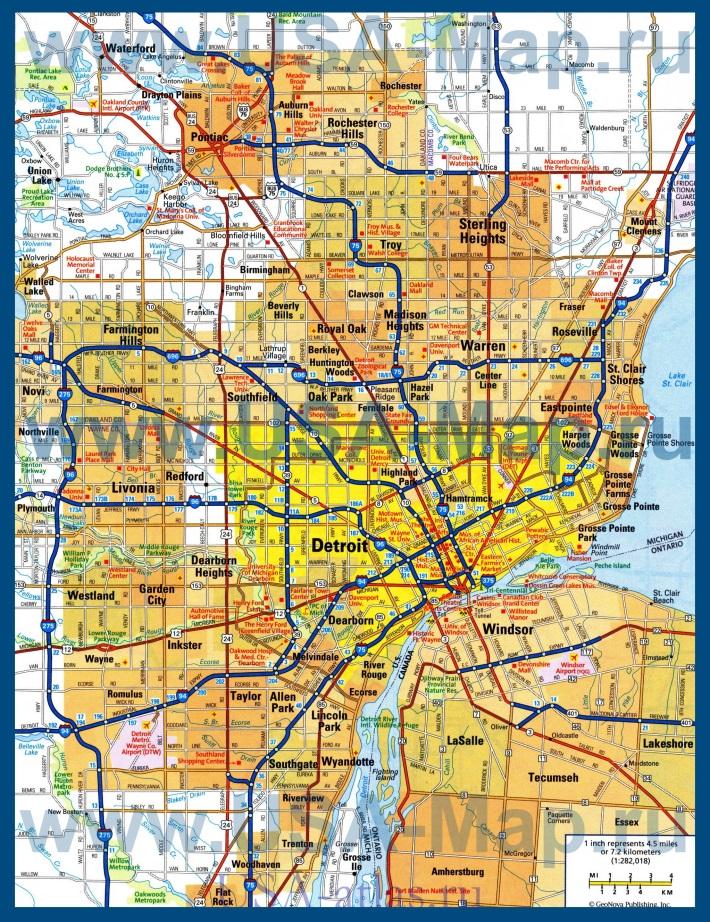 Подробная карта города Детройт