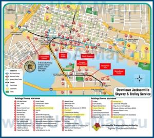 Туристическая карта Джексонвилла с отелями и достопримечательностями
