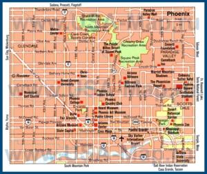 Туристическая карта Финикса с достопримечательностями