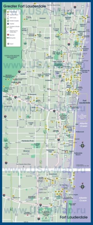 Туристическая карта Форт-Лодердейла