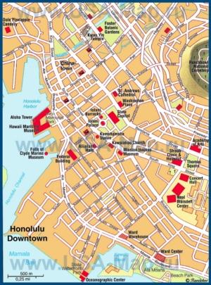 Карта Гонолулу с достопримечательностями