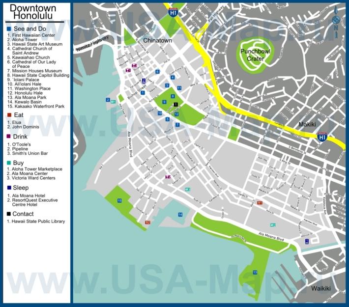 Туристическая карта  с отелями, достопримечательностями, ресторанами, барами и магазинами
