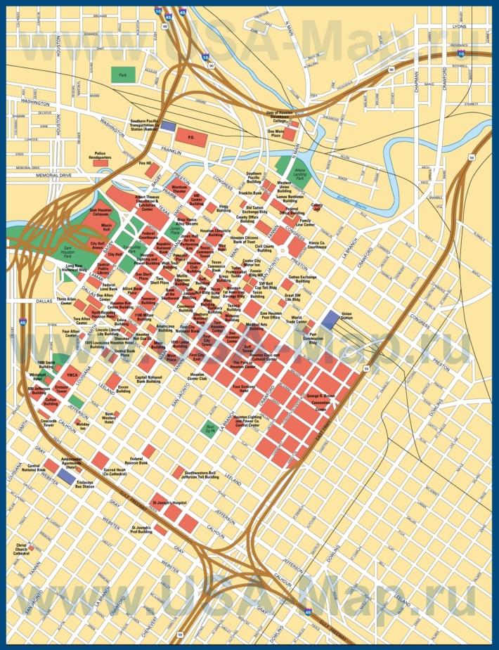 Карта центра Хьюстона с достопримечательностями