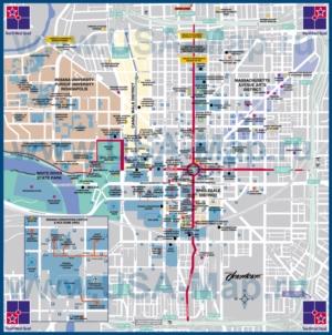 Туристическая карта Индианаполиса с отелями и достопримечательностями