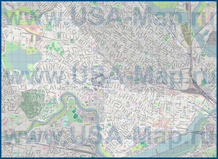 Подробная карта города Кембридж