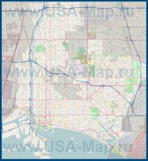 Подробная карта города Лонг-Бич