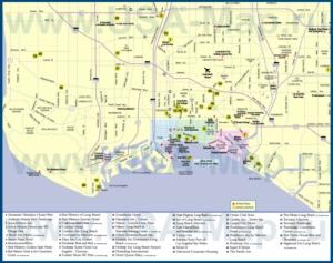 Туристическая карта Лонг-Бич с отелями и достопримечательностями