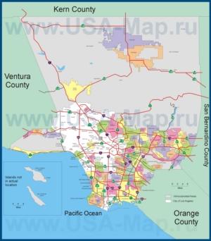Карта дорог Лос-Анджелеса с окрестностями и районами