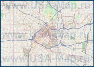 Подробная карта города Лос-Анджелес с улицами