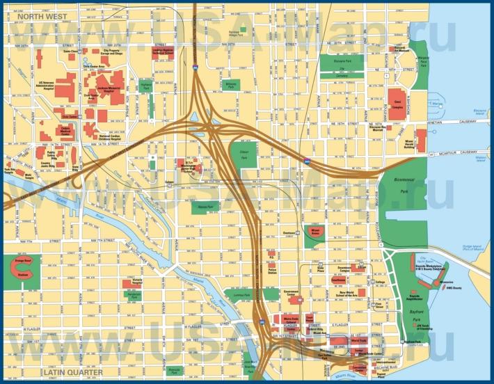 Карта центра Майами с достопримечательностями