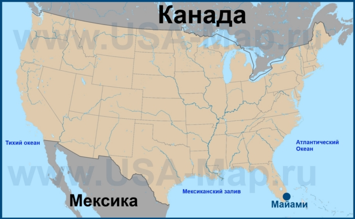 Майами на карте США