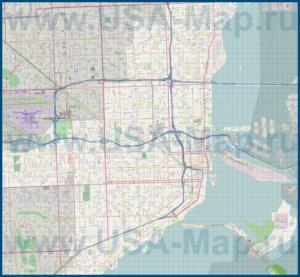 Подробная карта города Майами