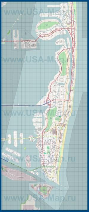 Подробная карта Майами-Бич