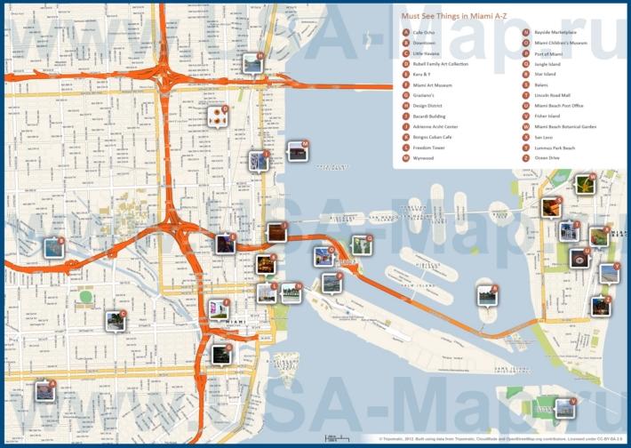 Туристическая карта Майами с достопримечательностями