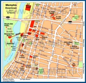Туристическая карта Мемфиса с достопримечательностями