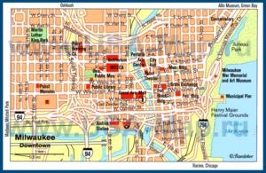 Туристическая карта Милуоки с достопримечательностями