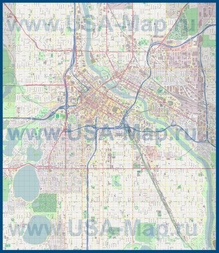 Подробная карта города Миннеаполис