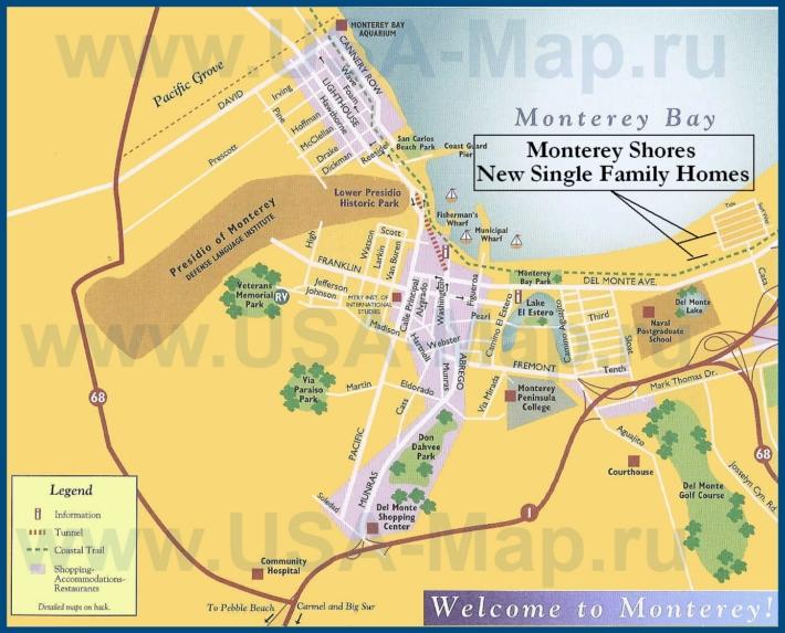 Туристическая карта Монтерея с достопримечательностями, ресторанами и магазинами