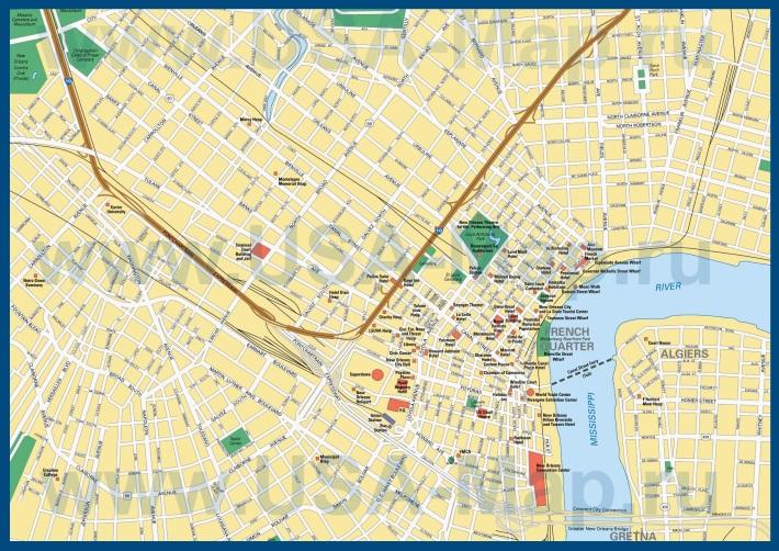 Карта Нового Орлеана с достопримечательностями