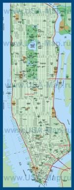 Карта Манхеттена с достопримечательностями