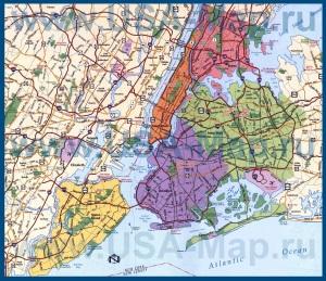 Карта Нью-Йорка по районам