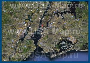 Карта Нью-Йорка со спутника на русском языке