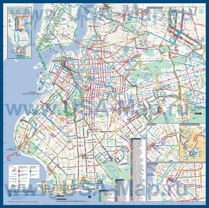 Подробная карта Бруклина