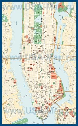 Подробная карта Нью-Йорка с достопримечательностями