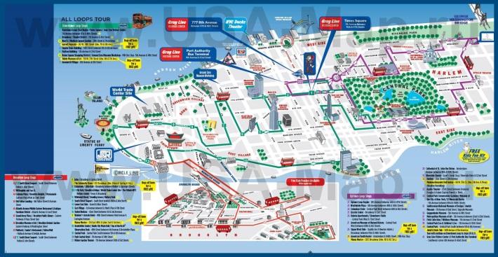 Туристическая карта Нью-Йорка