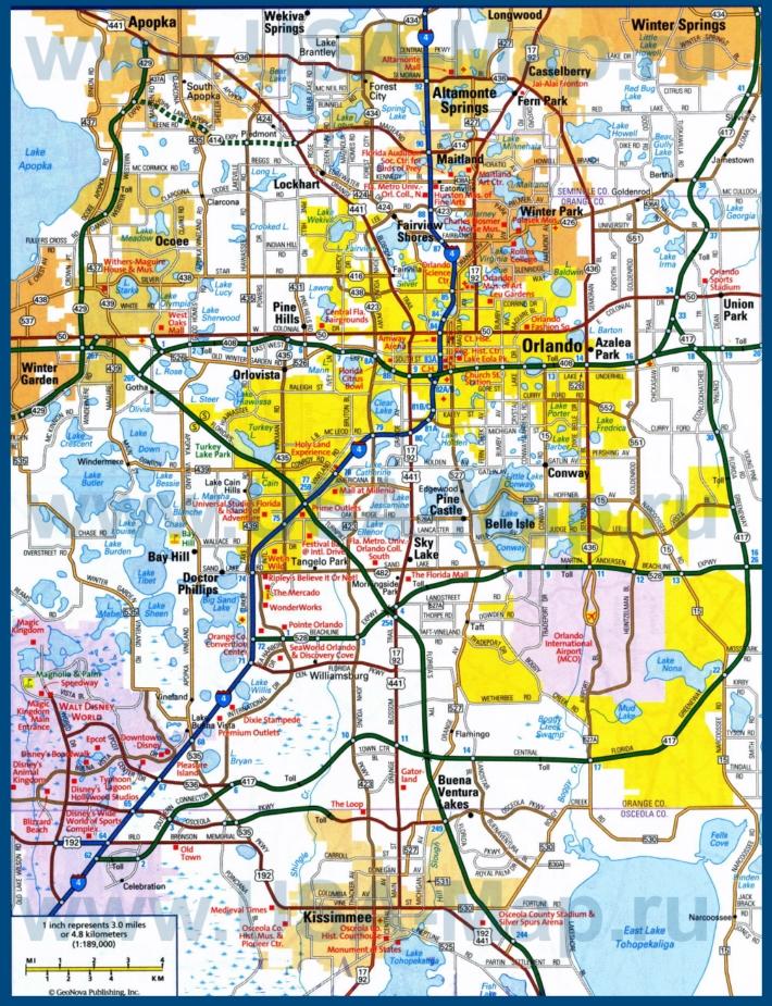 Карта дорог Орландо с окрестностями