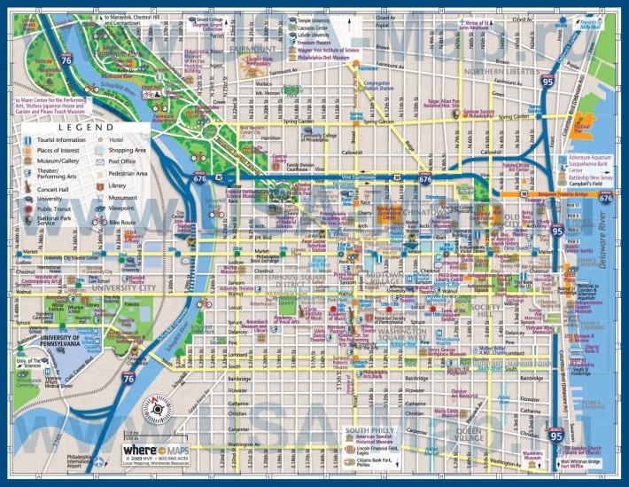 Туристическая карта Филадельфии с достопримечательностями и отелями