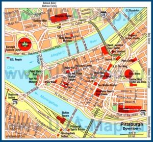 Карта Питсбурга с достопримечательностями