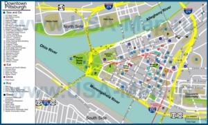 Туристическая карта Питсбурга с отелями, достопримечательностями, ресторанами, барами и магазинами