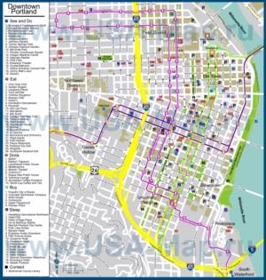 Туристическая карта Портленда с отелями, достопримечательностями, ресторанами, барами и магазинами
